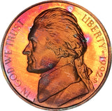 1992-S Jefferson Nickel BU Proof Rainbow Color Toned Gem
