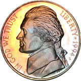 1994-S Jefferson Nickel BU Proof Rainbow Color Toned Gem