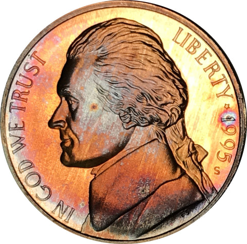 1995-S Jefferson Nickel BU Proof Rainbow Color Toned Gem