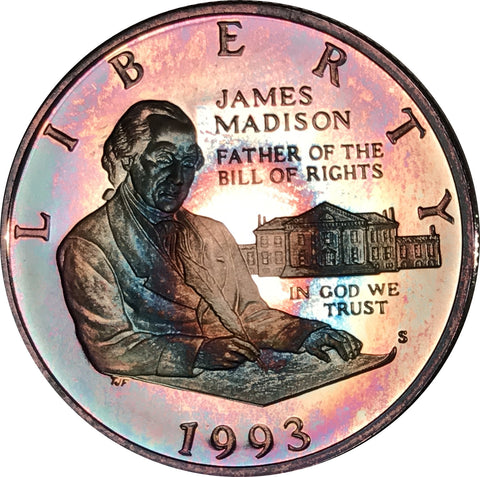 1993 James Madison Commemorative Half Dollar BU Proof Rainbow Color Type!!