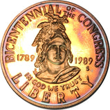 1989-S Congress Commemorative Silver Half Dollar BU Proof Rainbow Color Toned