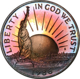 1986-S Liberty Commemorative Half Dollar BU Proof Rainbow Color Toned