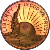 1986-S Liberty Commemorative Half Dollar BU Proof Rainbow Color Toned Gem