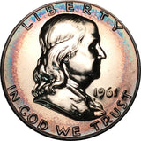 1961-P Franklin Silver Half Dollar BU Proof Rainbow Color Toned