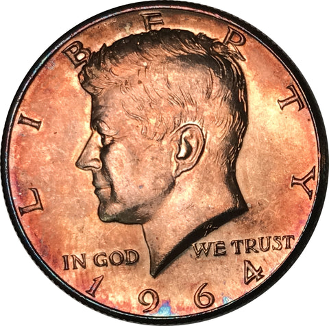 1964 Kennedy Silver Half Dollar BU MS Rainbow Color Toned Gem