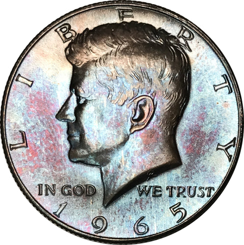 1965 Kennedy Silver Half Dollar BU MS Rainbow Color Toned Gem