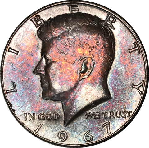 1967 Kennedy Silver Half Dollar BU MS Rainbow Color Toned Gem
