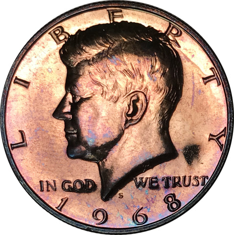 1968-S Kennedy Silver Half Dollar BU Proof Rainbow Color Toned Gem