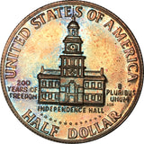 1976-S Kennedy Half Dollar BU Proof Rainbow Color Toned
