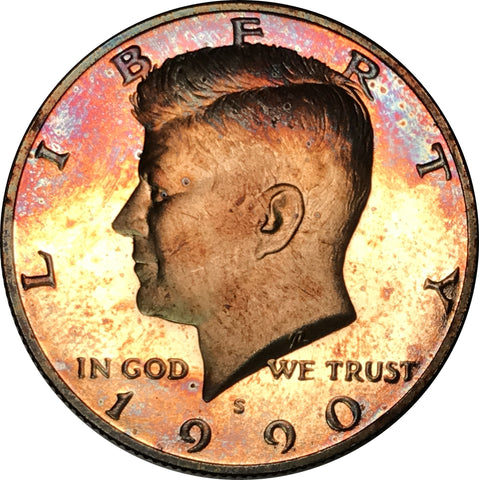 1990-S Kennedy Half Dollar BU Proof Rainbow Color Toned
