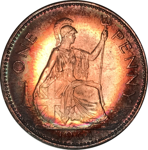 1964 Canadian Regina Penny BU MS Rainbow Color Toned