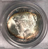 1922 Silver Peace Dollar PCGS MS63 Unique Rainbow Color Toned