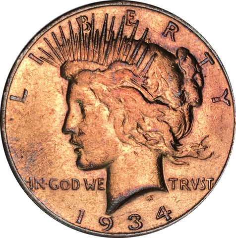 1934-S Silver Peace Dollar BU MS Gold Color Toned Gem