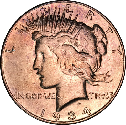 1934 Silver Peace Dollar BU MS Gold Color Toned Gem
