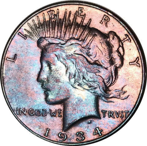 1934 Silver Peace Dollar BU MS Rainbow Color Toned Gem