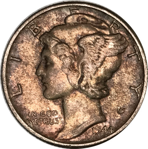 1944 Silver Mercury Dime Great Condition MS Dark Multi Color Toned Gem!!!