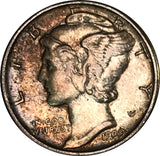 1939 Silver Mercury Dime Great Condition MS Dark Multi Color Toned Gem