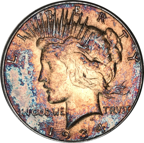 1934-D Silver Peace Dollar BU MS Rainbow Color Toned Gem