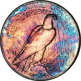 1935-S Silver Peace Dollar BU MS Rainbow Color Toned Gem