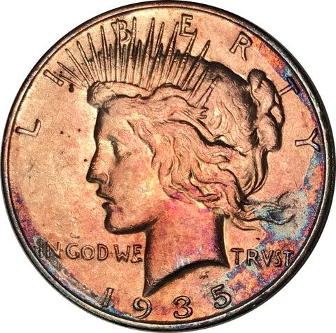 1935-S Silver Peace Dollar BU MS Light Multi Color Toned Gem