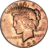 1935-S Silver Peace Dollar BU MS Gold Color Toned Gem