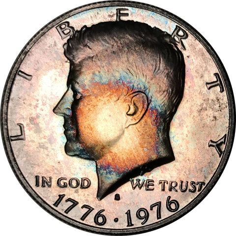 1976-S 3 Coin Bicentennial Set Kennedy, IKE, Quarter BU MS Rainbow Color Toneds