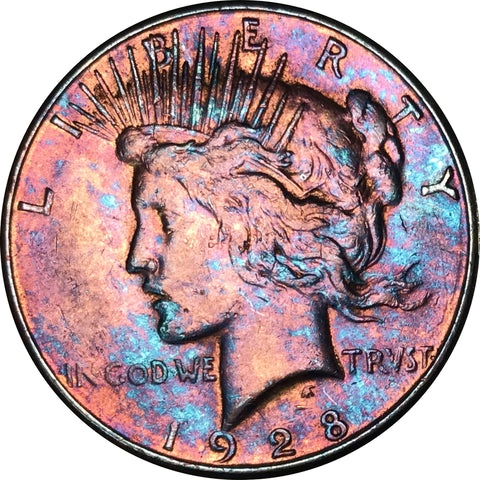 1928-S Silver Peace Dollar BU MS Rainbow Color Toned Gem