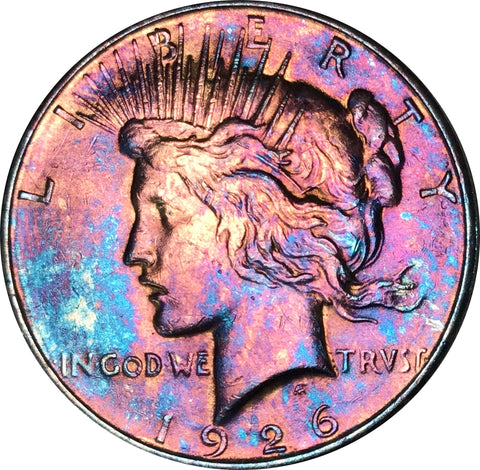 1926-D Silver Peace Dollar BU MS Rainbow Color Toned Gem