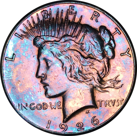 1926 Silver Peace Dollar BU MS Rainbow Color Toned Gem