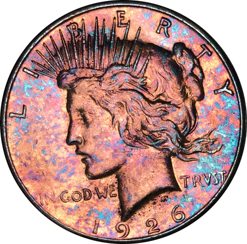 1926-S Silver Peace Dollar BU MS Rainbow Color Toned Gem