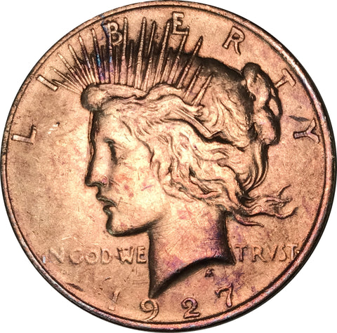 1927-D Silver Peace Dollar BU MS Gold Color Toned Gem