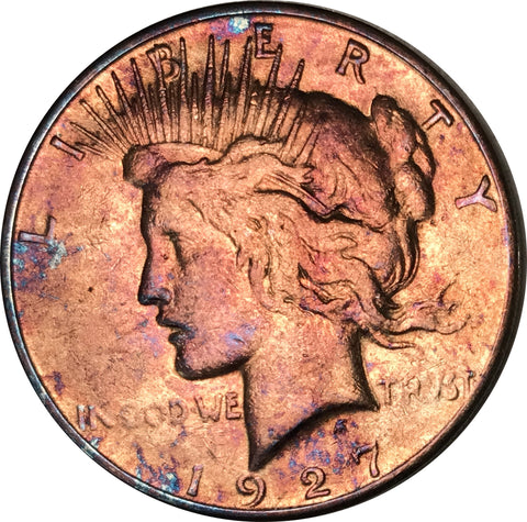 1927-S Silver Peace Dollar BU MS Light Multi Color Toned Gem