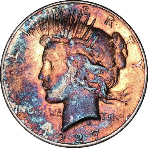 1927 Silver Peace Dollar BU MS Rainbow Color Toned Gem