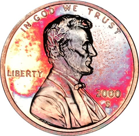 2000-S Lincoln Memorial Penny BU Proof Rainbow Toned Gem