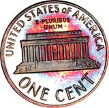 1992-S Lincoln Memorial Penny BU Proof Rainbow Toned Gem