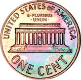 1964 Lincoln Memorial Penny BU Proof Rainbow Toned Gem