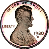 1980-S Lincoln Memorial Penny BU Proof Rainbow Toned Gem