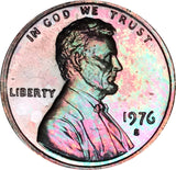 1976-S Lincoln Memorial Penny BU MS Rainbow Toned Gem
