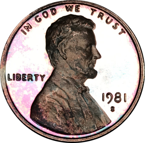 1981-S Lincoln Memorial Penny BU Proof Rainbow Color Toned Gem