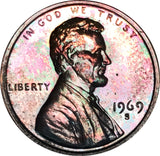 1969-S Lincoln Memorial Penny BU Proof Rainbow Color Toned Gem