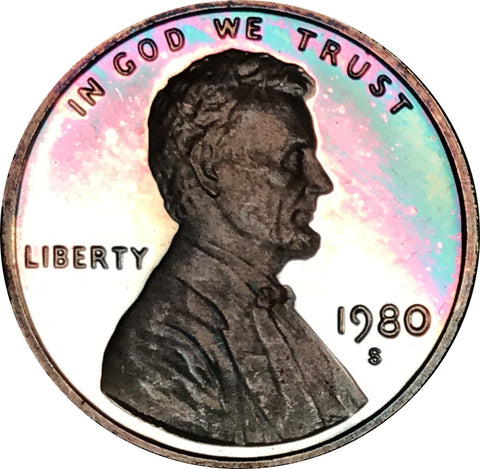 1980-S Lincoln Memorial Penny BU Proof Beautiful Rainbow Color Toned Gem