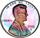 2006-S Lincoln Memorial Penny BU Proof Beautiful Rainbow Color Toned Gem