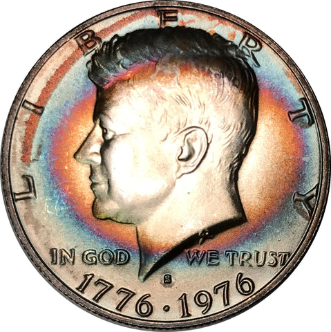 1976-S 3 Coin Bicentennial Set Kennedy, IKE, Quarter BU MS Rainbow Color Toned