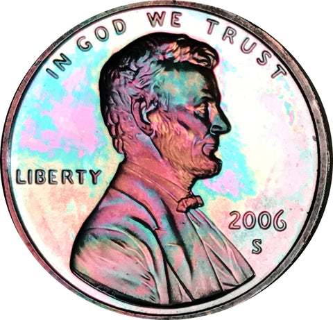 2006-S Lincoln Memorial Penny BU Proof Beautiful Rainbow Color Toned Gem!!!