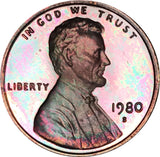 1980-S Lincoln Memorial Penny BU Proof Rainbow Color Toned Gem!!