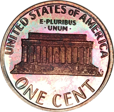 1979-S Lincoln Memorial Penny BU Proof Light Multi Color Toned Gem