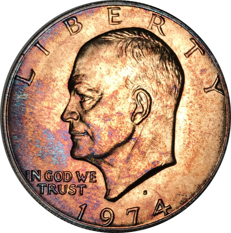 1974-S Silver Eisenhower Dollar IKE BU MS Unique Rainbow Color Toned Gem