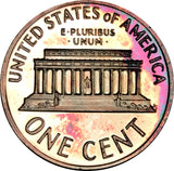 1972-S Lincoln Memorial Penny BU Proof Rainbow Color Toned Gem