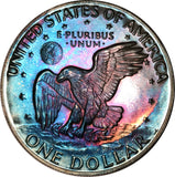 1977-S Eisenhower Dollar IKE BU Proof Rainbow Color Toned Gem