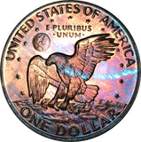 1973-S Eisenhower Dollar IKE BU Proof Rainbow Color Toned Gem